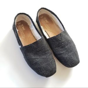 Toms Charcoal Grey Wool Fleece Lined Flat